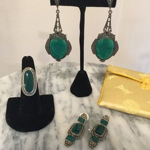 Jewelry - 1930's Deco Marcasite and Jade Sterling Silver Set